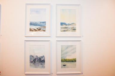 Fyra akvareller av Christina Björck.
