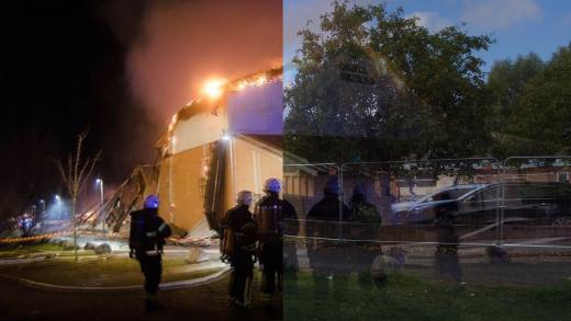<span>Idrottshallen under branden och efteråt. Foto: Mattias Forsberg, <a href=\