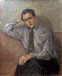 Gustaf Ryno Frieberg. Självporträtt 1944 skänkt till Vasaskolan