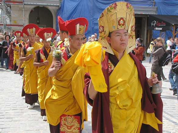 Procession and the ceremony of destoying Mandala/in Wroclaw, Poland