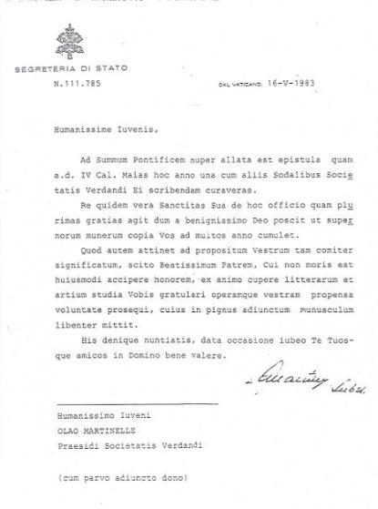 Brevet från påve Johannes Paulus II