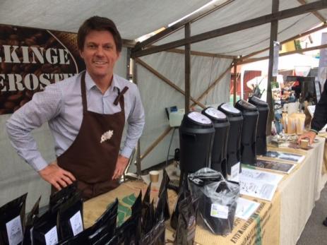 Henrik Arvidsson från Blekinge Kafferosteri sålde ekologiskt och Fair Trade kaffe från både sydamerika och östeafrika.