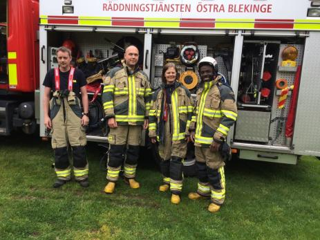 Räddningstjänsten i Bräkne-Hoby passade på att visa upp sitt fordon. Med under dagen var Daniel Flykt, Fredrik Danielsson, Peggy Lakey och Ismail Kiyingi.
