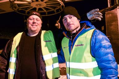 Thord Pettersson och Christoffer Lundell såg till att kvällens åkare kom upp till toppen av backen.
