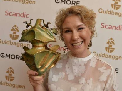 Lycklig Guldbaggevinnare<br />Eva Melander