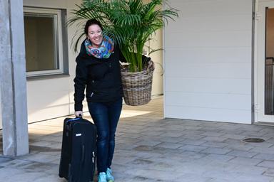 Redan förra helgen flyttade många in i nya Lyckebo. Sofia Bergkvist var glad över sin nya lägenhet.