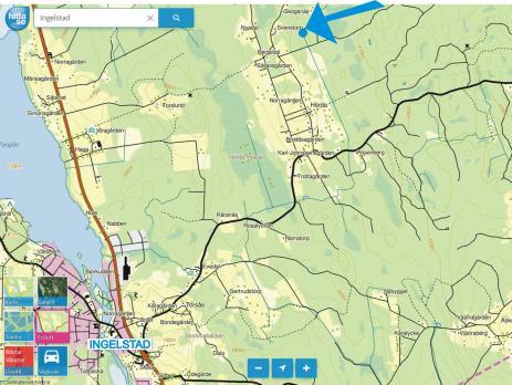 Orienterad från Ingelstad kan du här se Bräkneåns ursprung vid pilen.