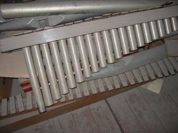 Orgeldelar i fjärrverkets ljudtunnel