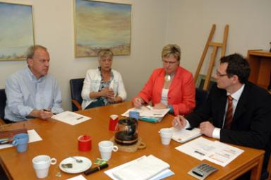 Stefan Bothén, ordförande för Företagarna i Bollebygds kommun, Jill Nordh, representant för köpmännen, Ann-Lena Mönsmo och Andreas Bjärsvik som båda är styrelseledamöter i Företagarna.