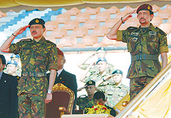 His Majesty the Sultan, who is also the Supreme Commander of RBAF and HRH Prince General the Crown Prince salute the troops.