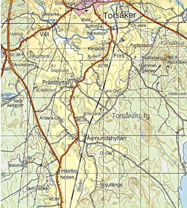 Karta över undersökningsområdet. Boplatsen ligger ovanför o i Torsåker fg