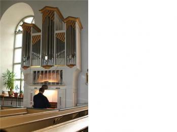 Den välklingande Menzel-orgeln i Forsa kyrkas kor.