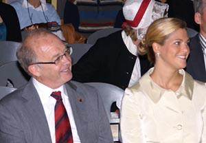 Prinsessan Madeleine och dåvarande landshövding Eirefelt vid skolans 450 års jubileum