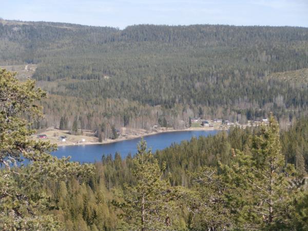Utsikt från tjärnbergskullarna strax innan Almsjönäs. Där finns det ett vindskydd också.