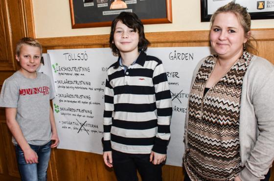 Den här trion från Töllsjöskolan var nöjda. <br />Hampus Wängvik, Milvid Stridh och läraren Anna Tellander.