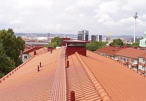 Vacker utsikt från vårt nya tak.
