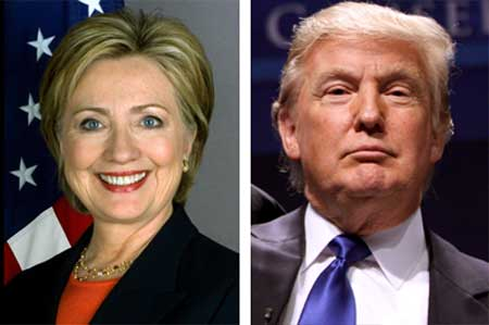 Hillery Clinton Demokrat och Donald Trump Republikan