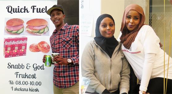 Quick Fuel (tv) var ett av de företag som erbjöd mat under dagen. Eleverna var med och möjliggjorde dagen och Najma Salad (längst till höger) var stolt över allas insats.