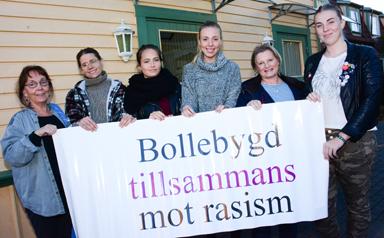 Lisa Thudén, Lotta Andersson, Michelle Larsson, Sofia Johansson, Rose-Marie Grune och Johanna Johansson. Några av medlemmarna hos Bollebygd tillsammans mot rasism som kommer att finnas på plats i Gula Huset på lördag den 3 oktober.