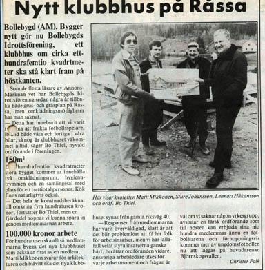 Ett klipp ur AnnonsMarknan från tiden då Bollebygds Idrottsförening planerade bygget av klubbstugan på Hägnen.