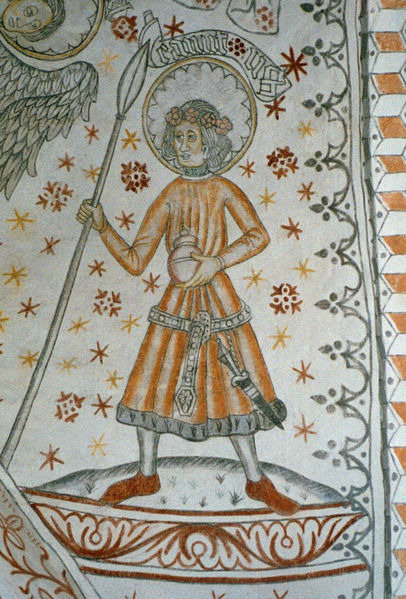 Medeltida kyrkomålning av Knut