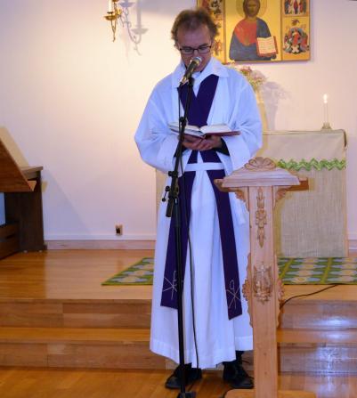 Mats Hallin predikade i Församlingshemmet