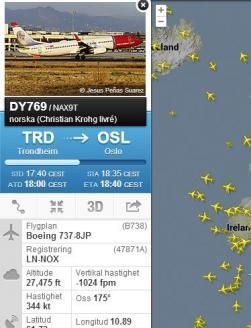 ...ser man att nax9t är på väg från Trondheim till Oslo och flyger på 27,475 fots höjd som visas i meter om man pekar på höjden o.s.v.