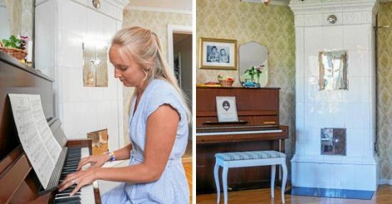 <span>Emmelie spelar ofta på pianot hemma i huset och har valt att vara hemma med barnen när de är små.</span>