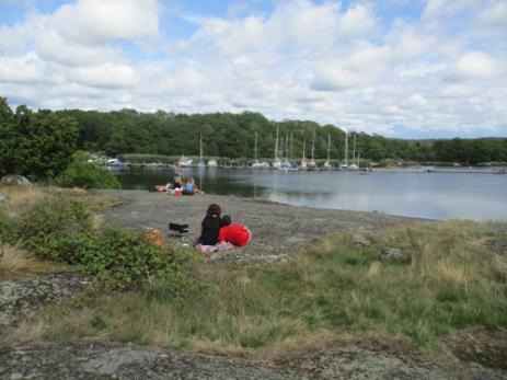 På Tjärö får man numera sätta upp sitt tält var man vill. Många väljer att komma under dagen för att då slå sig ner på någon av de vackra klipporna.