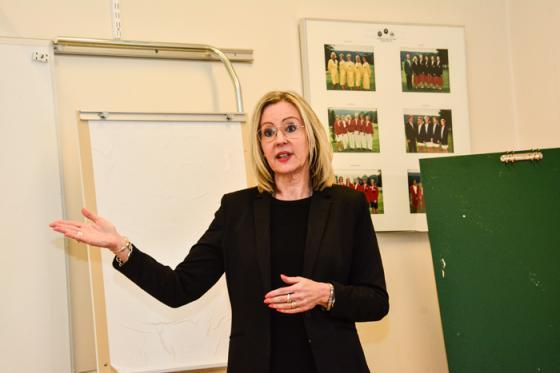Christina Riksén från Svenskt Näringsliv informerade om organisationens ranking av företagsklimatet i landet kommuner och här särskilt om företagsklimatet i Bollebygds kommun.