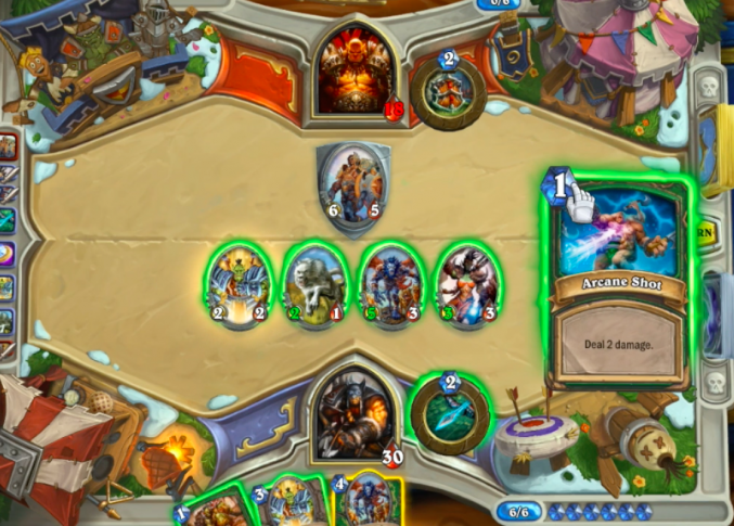 Gameplay från en match i Hearthstone