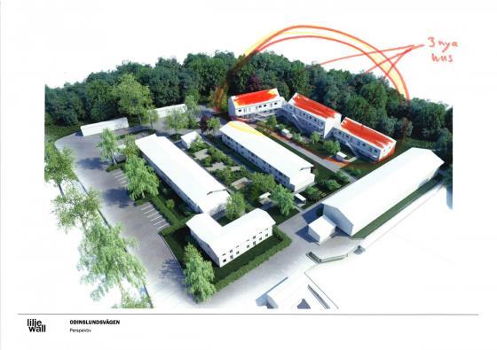 Bakom de tre nya hyreshusen ligger Bollebygds bibliotek.